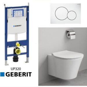 Complete Geberit UP320 set met Ideal Standard Connect Aquablade toilet