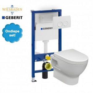 Complete Geberit UP100 set met Wiesbaden Mercurius en Delta drukplaat