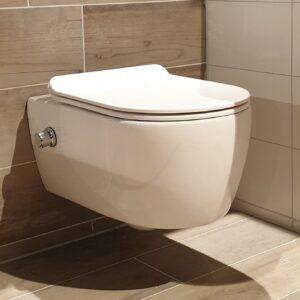 Neuer Easy Flush slim hangtoilet met bidet wit