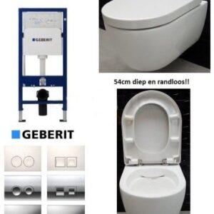 Complete Geberit UP100 set met Neuer Rimfree en Delta drukplaat